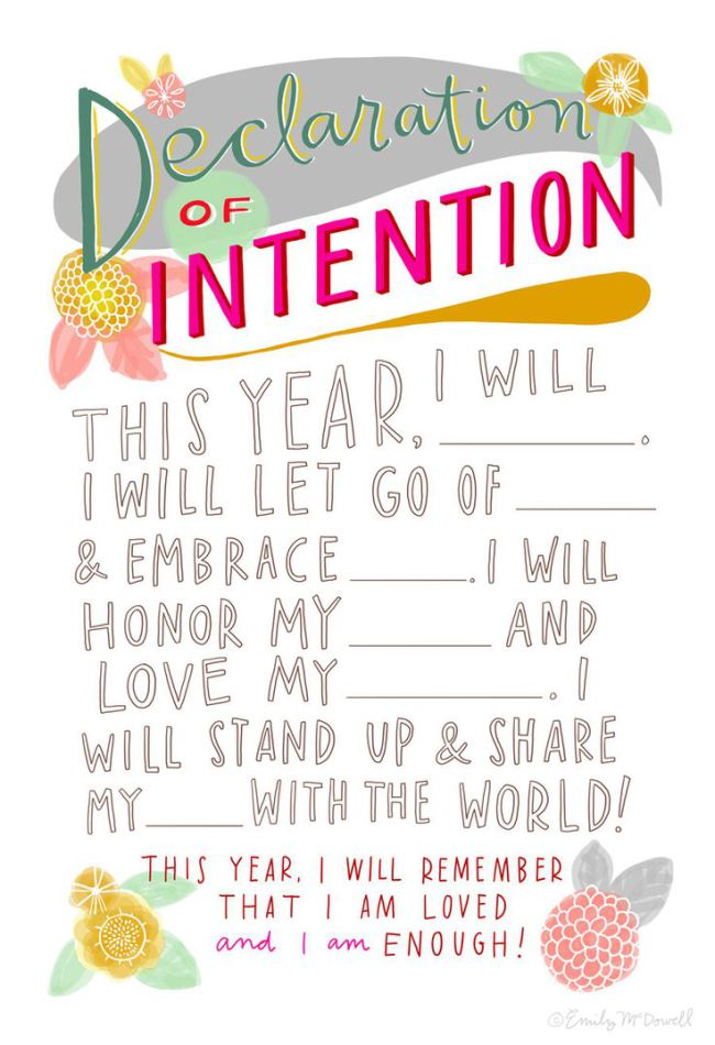 New Years Declaration of Intention