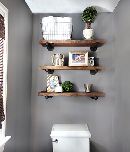 diy rustic industrial shelves home and heart diy. Black Bedroom Furniture Sets. Home Design Ideas