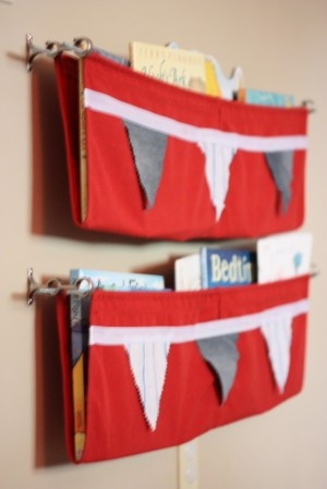 No Sew Fabric Bookshelf