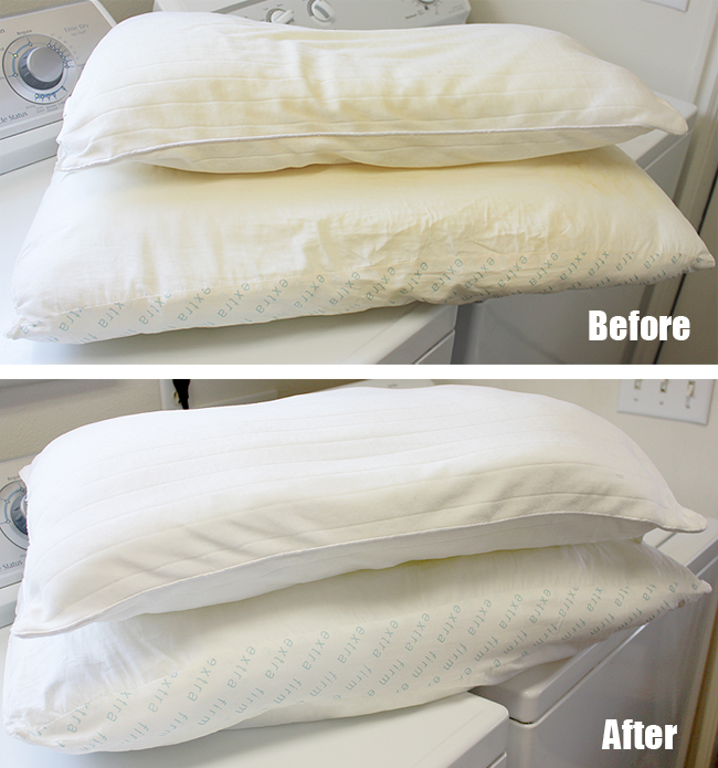 DIY Washing and Whitening Pillows