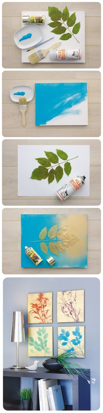 DIY Canvas Leaf Art