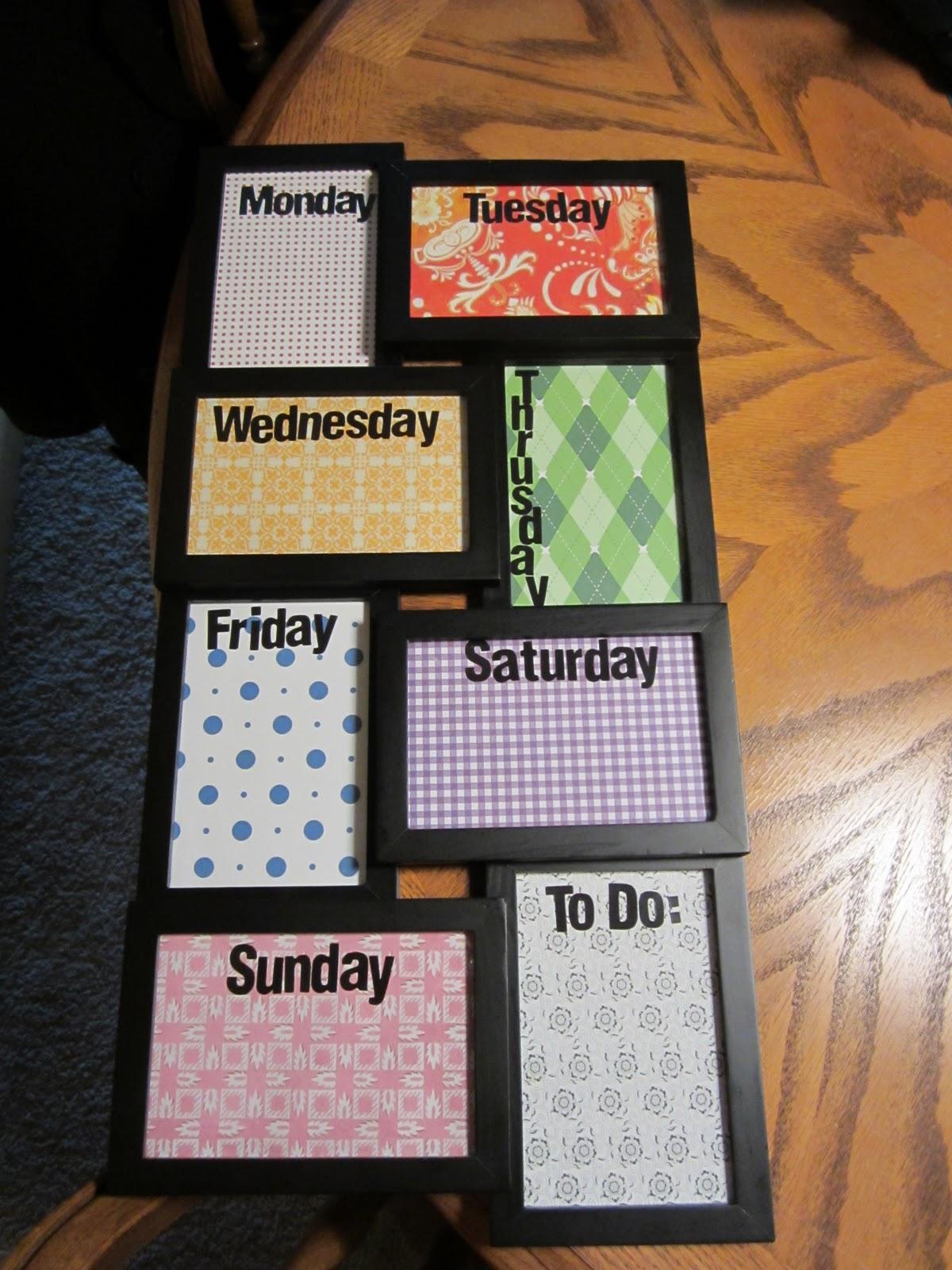 DIY Dry Erase Weekly Calendar