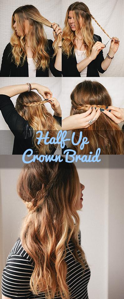 Half-Up Crown Braid